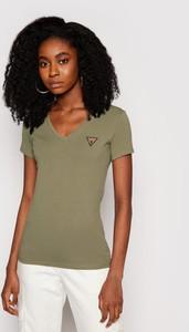 Zielony t-shirt Guess z dekoltem w kształcie litery v z krótkim rękawem