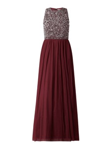 Czerwona sukienka Lace & Beads bez rękawów z dekoltem w kształcie litery v z szyfonu