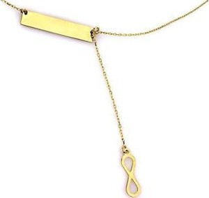Lovrin Złoty naszyjnik 585 krawatka blaszka z nieskończonością