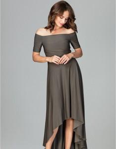 Zielona sukienka LENITIF asymetryczna maxi