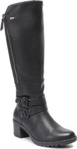 Czarne kozaki Go Soft w stylu casual przed kolano