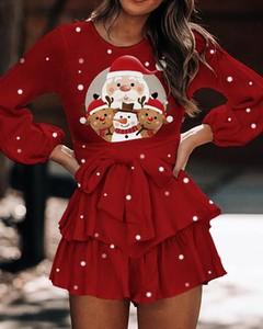 Sukienka Kendallme w bożonarodzeniowy wzór z okrągłym dekoltem z długim rękawem