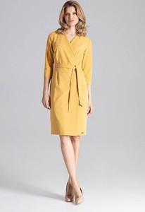 Żółta sukienka Figl z dekoltem w kształcie litery v z długim rękawem