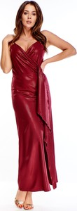 Czerwona sukienka Ptakmoda.com z dekoltem w kształcie litery v maxi kopertowa