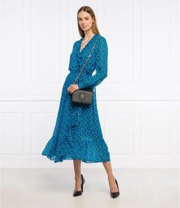 Niebieska sukienka Michael Kors midi z dekoltem w kształcie litery v