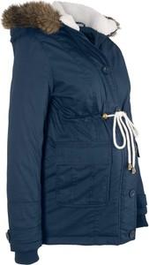 4bd002e9947ea7 Granatowa kurtka bonprix bpc bonprix collection w stylu casual z plaru