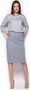 Niebieska sukienka Figl midi w stylu casual z bawełny