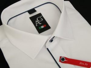 4f50b3547baee granatowa koszula do garnituru. - stylowo i modnie z Allani