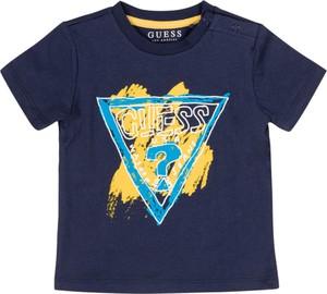 Granatowa koszulka dziecięca Guess z krótkim rękawem dla chłopców