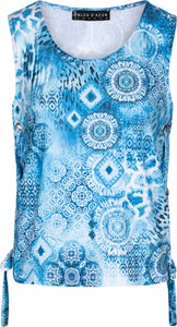 Niebieski top BLEU D'AZUR z okrągłym dekoltem