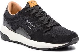 Buty sportowe Pepe Jeans sznurowane w sportowym stylu ze skóry ekologicznej