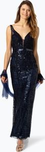 Granatowa sukienka Unique maxi bez rękawów w stylu glamour
