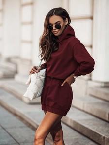Czerwona sukienka Moda Dla Ciebie z dzianiny mini