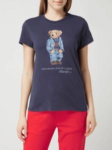 Granatowy t-shirt POLO RALPH LAUREN z krótkim rękawem w młodzieżowym stylu