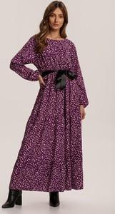 Sukienka Renee maxi z okrągłym dekoltem z długim rękawem