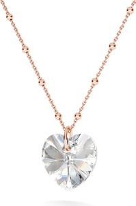 GIORRE Rodowany naszyjnik z kryształem swarovskiego serce : Kolor kryształu SWAROVSKI - Crystal, Kolor pokrycia srebra - Pokrycie Różowym 18K Złotem