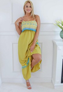 Sukienka Latika na ramiączkach z bawełny maxi