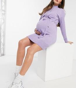 Mama Licious Mamalicious Maternity – Liliowa sukienka dzianinowa z paskiem-Fioletowy