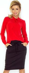Czerwona bluzka NUMOCO z okrągłym dekoltem z długim rękawem