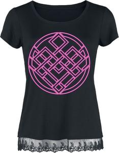 Czarna bluzka Emp z okrągłym dekoltem z krótkim rękawem