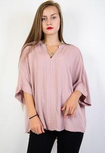 Różowa bluzka Olika z długim rękawem w stylu casual z dekoltem w kształcie litery v