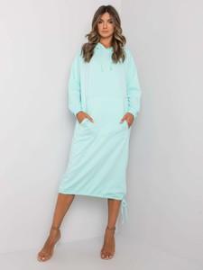 Turkusowa sukienka Sheandher.pl z dekoltem w kształcie litery v z bawełny w stylu casual