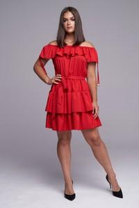 Czerwona sukienka Ella Boutique z krótkim rękawem