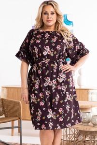 Sukienka KARKO mini z długim rękawem z okrągłym dekoltem