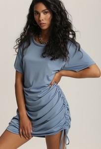 Niebieska sukienka Renee z okrągłym dekoltem w stylu casual