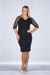 Czarna sukienka Luiza z długim rękawem dla puszystych z dekoltem w kształcie litery v