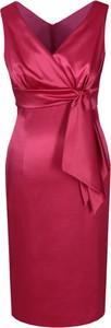 Czerwona sukienka Fokus midi z dekoltem w kształcie litery v kopertowa