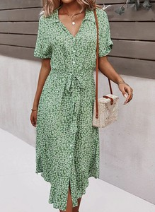 Zielona sukienka Sandbella kopertowa w stylu casual
