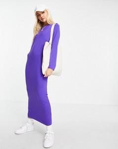 Fioletowa sukienka Asos maxi w stylu casual z długim rękawem