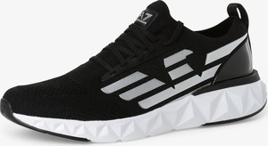 Czarne buty sportowe Emporio Armani z płaską podeszwą