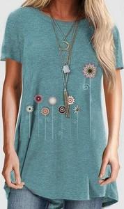 Niebieska bluzka Kendallme z okrągłym dekoltem z krótkim rękawem