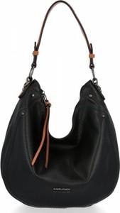 Czarna torebka David Jones ze skóry na ramię w stylu glamour