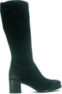 Czarne kozaki Acord ze skóry przed kolano na zamek