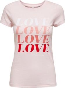 Różowy t-shirt WARESHOP z bawełny z okrągłym dekoltem