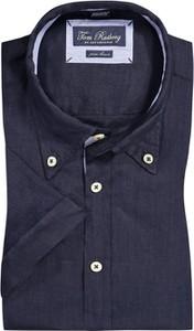 Granatowa koszula Tom Rusborg z lnu