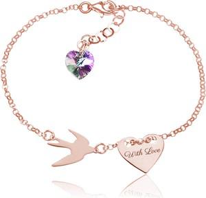 Lian Art Srebrna bransoletka Hailey - jaskółka i serce z kryształkiem Swarovski® - rose gold