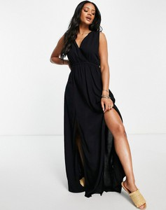 Czarna sukienka Asos z dekoltem w kształcie litery v na ramiączkach maxi
