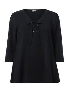 Granatowa bluzka Samoon z długim rękawem ze sznurowanym dekoltem