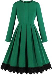 Zielona sukienka Cikelly z okrągłym dekoltem midi z długim rękawem