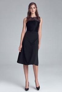 Czarna sukienka Merg prosta z okrągłym dekoltem bez rękawów