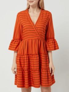 Pomarańczowa sukienka Vila z dekoltem w kształcie litery v w stylu casual mini