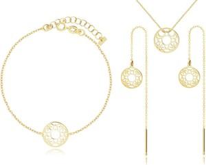 Irbis.style komplet srebrnej pozłacanej biżuterii - kolczyki, bransoletka i naszyjnik