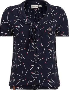 Granatowa bluzka Naketano w stylu casual ze sznurowanym dekoltem