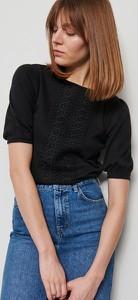 Czarna bluzka Reserved w stylu casual z krótkim rękawem z okrągłym dekoltem