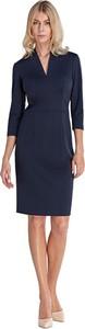 Niebieska sukienka Colett z długim rękawem