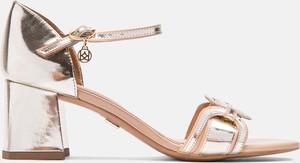 Złote sandały Kazar ze skóry
